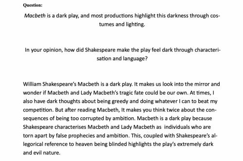2021 - 17/20 - Year 9 Macbeth speech sample - St Euphemia College