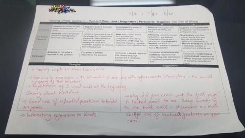 2019 - GRC Georges River Campus - Yr 12 - English Advanced - Craft of Writing - 18/20