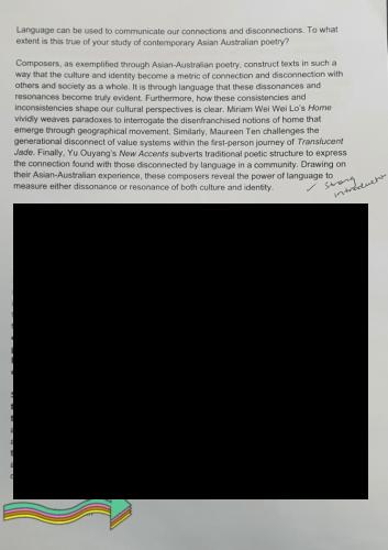 2020 sample - GRC Oatley Campus - English Standard - full marks - essay